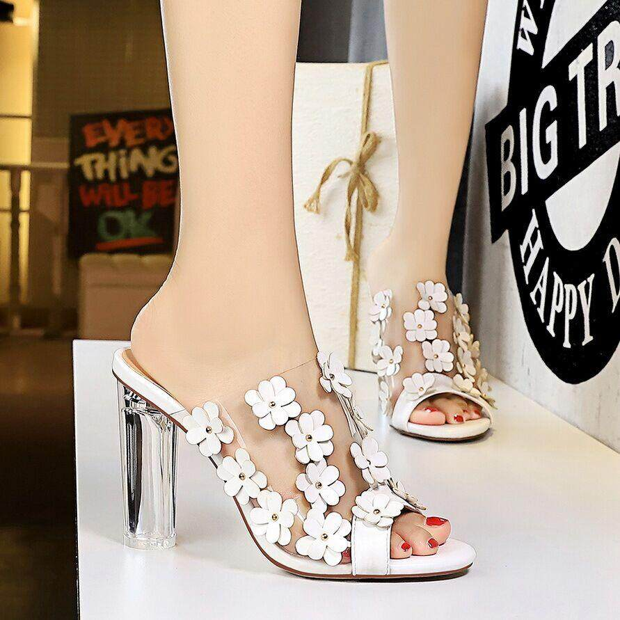 42876ecd29a94 Fashion 3.74 inches High Heels Sandals for Women Transparent Block Heel  Mules Pumps Ladies Flowers Peep