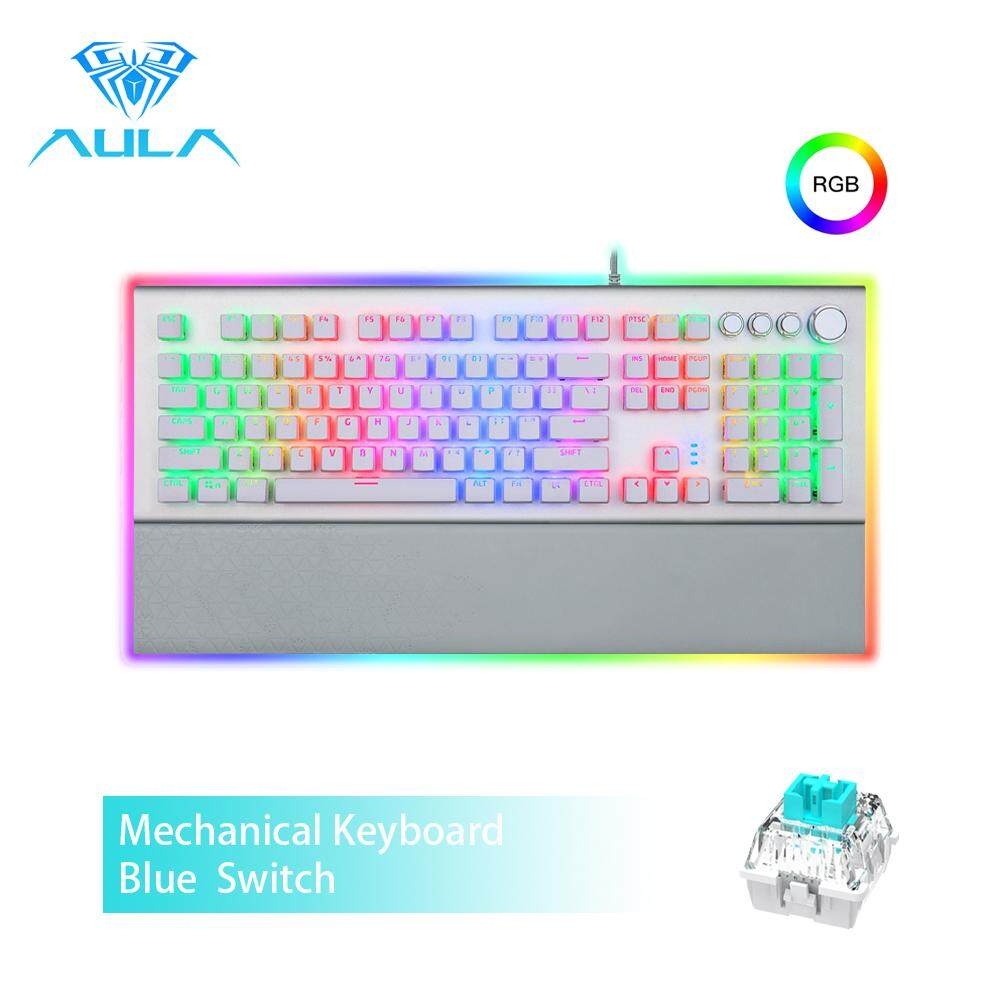 AULA L2098 FULL RGB Mechanical Keyboard  Marco Programming metal panel Crystal Black/Blue Switch for PC Laptop Game Singapore