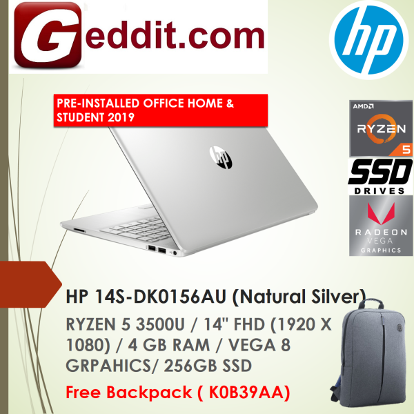 HP 14S-DK0155AU (GOLD) / 14S-DK0156AU (SILVER ) LAPTOP (RYZEN 5 3500U,4GB,256GB SSD,14 FHD,VEGA 8) FREE BACKPACK + PRE-INSTALLED OFFICE H&S 2019 Malaysia