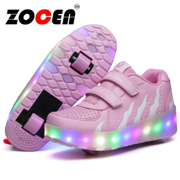 Giày Thể Thao Đèn LED ZOCEN Heelys Với Hai Bánh Xe Giày Trượt Patin Thường Ngày Cho Bé Trai Bé Gái Với Con Lăn Giày Trẻ Em Ròng Rọc Trượt Patin Trẻ Em Wheely Tennis giá rẻ