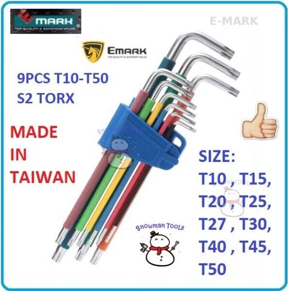 100% GENUINE EMARK ANTI SLIP COLOUR GRIP 9PCS TORX KEY SET HIGH QUALITY EXTRA LONG T10-T50 HAND TOOL HEX SETS BONDHUS EMARK ALLEN KEY SETS