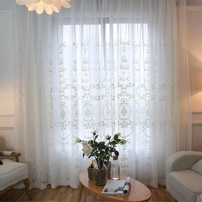 Fancyqube White Cotton Sheer Solid Lace Curtain Jacquard Mesh Tulle Net