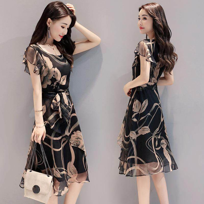 2018 summer new women s Korean version was thin large size printed chiffon  dress fashion temperament A b4e57d7c6b88
