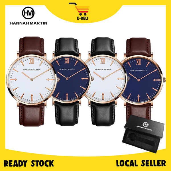 [READY STOCK] E-BELI AUTHENTIC HANNAH MARTIN Classic Leather  Luxury Men Women Watch Malaysia