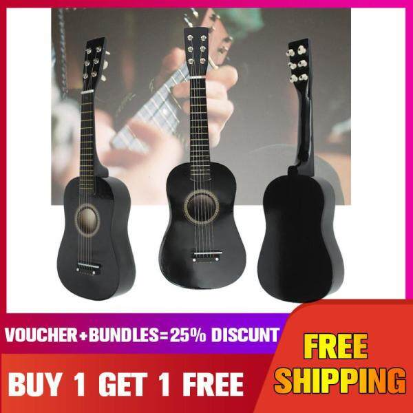 HOT New Beginners Black Basswood Acoustic Guitar With Guitar Pick Wire Strings 【Buy 1 Get 1 Free 】 - Malaysia