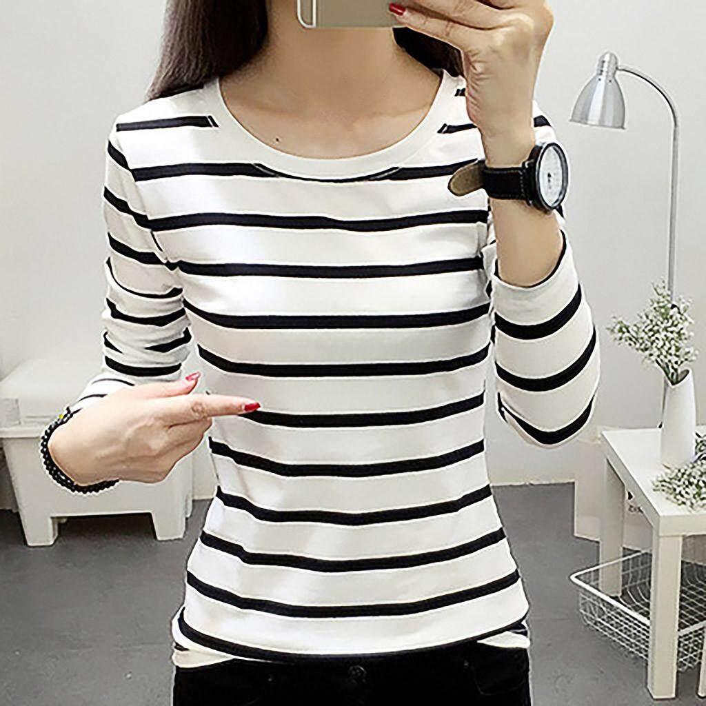 39e48c55bcb TCTTheOne Fashion Couple Wear Striped Female Long-sleeved Round Neck  Bottoming T-shirt women
