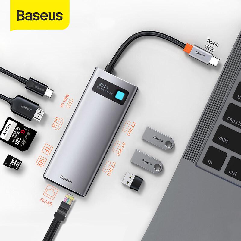 BASEUS USB C HUB Loại C sang HDMI tương thích với USB 3.0 Bộ chuyển đổi 8 trong 1 Loại C Đế cắm HUB RJ45 Đầu đọc SD PD 100W Bộ sạc cho MacBook Pro Air Bộ chia USB C