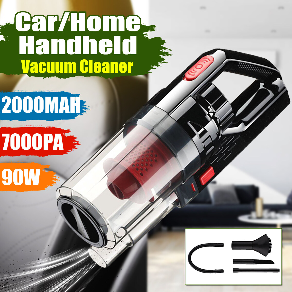 100W 8.4V Wireless Car Home Vacuum Portable Wet & Dry 7000PA Handheld Cordless Vacuum Cleaner for Car Strong Power Suction Vacuums Set