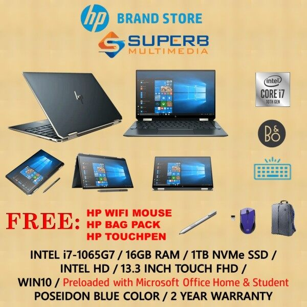 HP Spectre x360 - 13-aw0224tu laptop (i7-1065G7, 16GB RAM, 1TB SSD, INTEL HD, 13.3 TOUCH, WIN10, BLUE) Malaysia