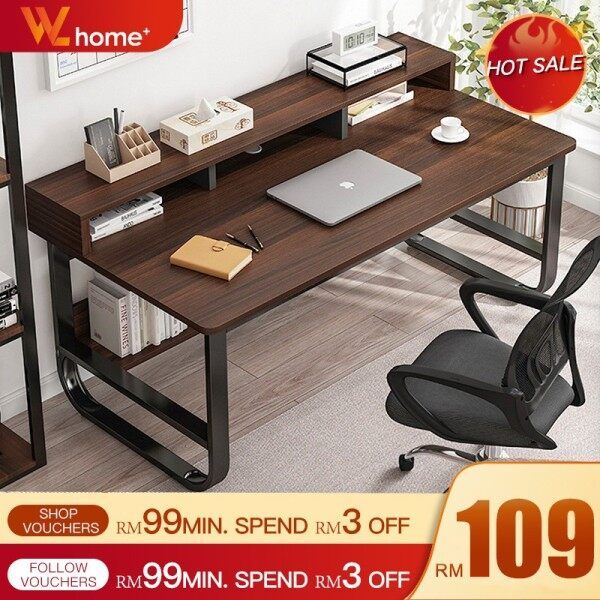 Office Table Wood Computer Desk With Storage and bookshelf meja jepun living room furniture Double Layer  Student Study Desk Multi-Sizes Home Office Table Living Room Wood Table Student study table Mansfield Desktop Computer table with drawer WL HOME