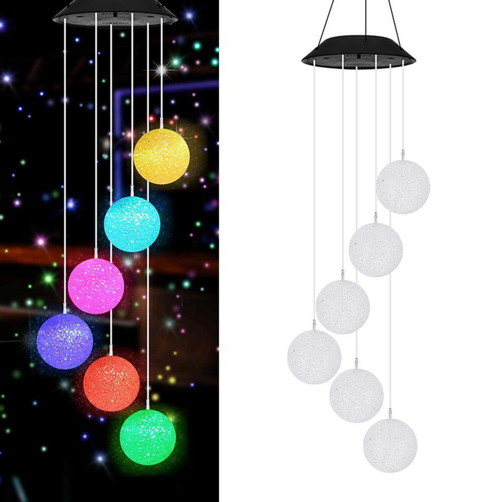 OrzBuy Color Changing Wind Chime Outdoor, Solar Powered Crystal Ball Wind Chimes LED Wind Mobile Solar Lights Wind Bell for Garden Patio Home Decoration (Crystal Ball)