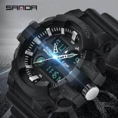 SANDA Đồng hồ thạch anh thể thao nam chất liệu dây đeo bằng cao su màn hình LED hiển thị kép đa chức năng chống nước phong cách sang trọng – INTL
