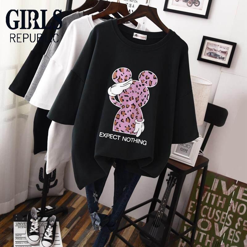 373957ef8e38 Girls Republic lowest price cartoon long loose large size t-shirt sanding  thick short-