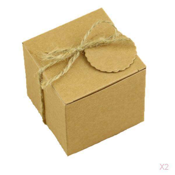 Loviver 2x 50pcs 7x7x7CM Kraft Candy Boxes with Tags Wedding Party Baby Shower Favors