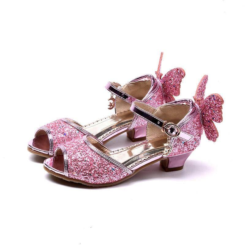 ❤️Cutiebaby Bé Gái Công Chúa Lấp Lánh Giày Sandal Bướm Peep Cao Gót Đảng Giày Khiêu Vũ