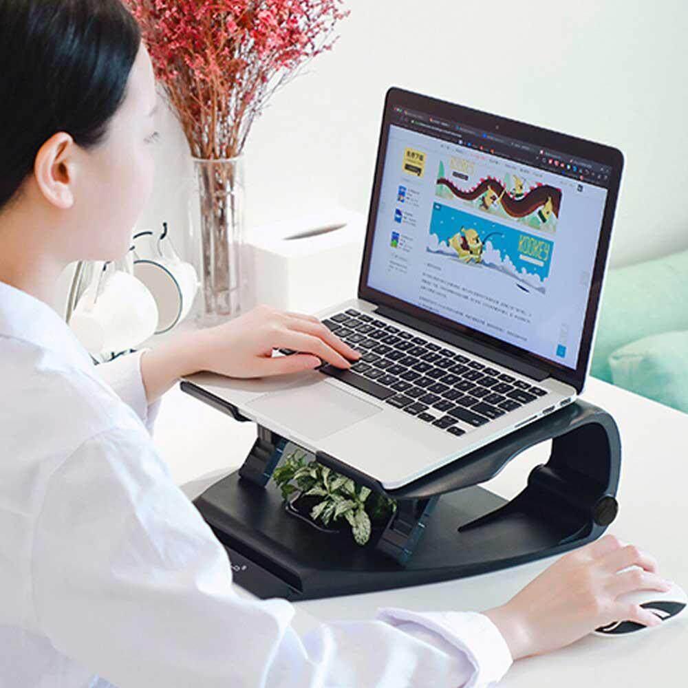 Aolvo Laptop Desktop Berdiri Siku-siku Pengangkat Apple Dudukan MacBook dengan Kipas Disipasi Panas Kompatibel dengan Laptop Di Bawah 17 Inches