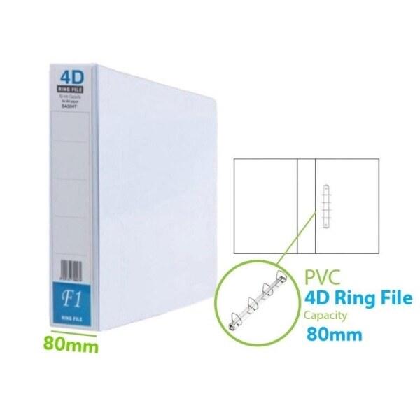❃﹍◘  East File 4D Ring File PVC Fail Cincin 4D PVC File Filing ( 80 mm ) A4-1Pcs