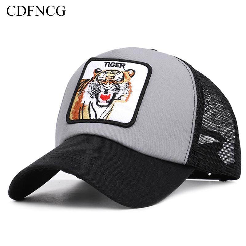 finest selection dbe66 bfb97 2019 Fashion summer autumn Casual Snapback popular pop animal Embroidery  Tiger Cotton Breathable Baseball Cap Sun