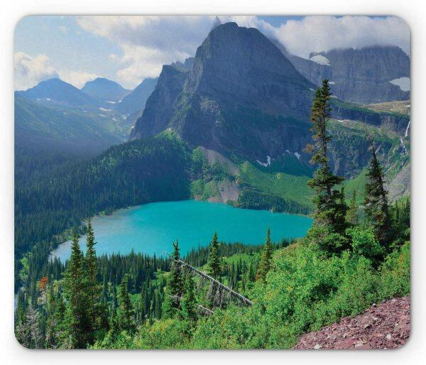 Glacier National Park Mouse Pad, Outdoor Scene with Grinnell Lake and Mountains in Summer Season, Rectangle Non-Slip Rubber Mousepad, Standard Size, Aqua Green Malaysia