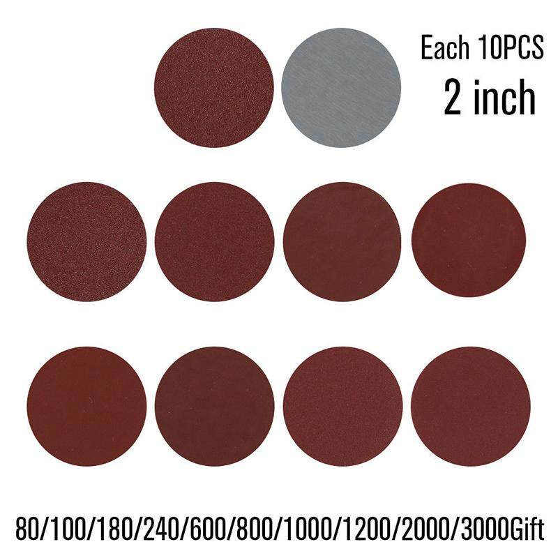 100 Pcs Set 80-3000 Mixed Grits Sandpaper Disc Pad Hook Loop Polishing 2 Inches