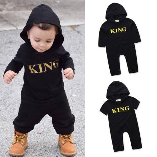 (One Romper เท่านั้น!) ทารกแรกคลอดเด็กผู้หญิงเด็ก King Romper ชุดสูท jumpsuit ชุด 0-24 เดือน