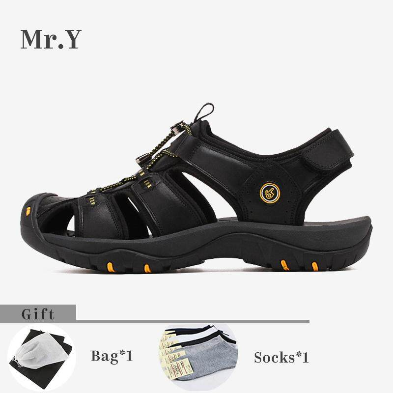Mr.y Men Sport Outdoor Hiking Sandals Breathable Trekking Shoes Trail Water Shoes Cow Leather Kasut Lelaki (black,brown) By Mr.y.