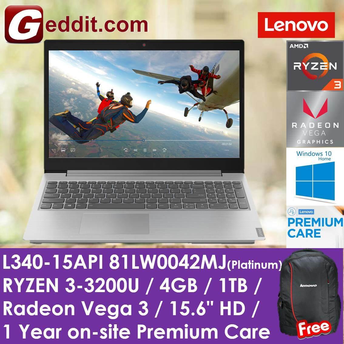 LENOVO L340-15API 81LW0042MJ (RYZEN 3-3200U,4GB,1TB,INTEGRATED GRAPHIC,WIN10,15.6,1YR ONSITE) FREE BACKPACK Malaysia