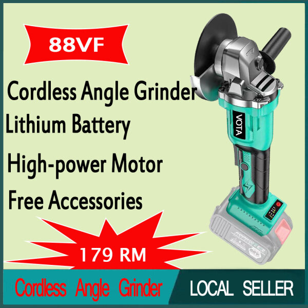88VF Cordless Angle Grinder With One Battery Lithium-Ion Grinding Machine Cutting Electric Angle Grinder Grinding Brushless Power Tools 10-cell Lithium Battery Brushless Motor Intelligent Gear Shifting Auxiliary Handle