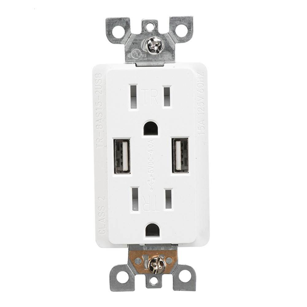 TR-BAS15-2USB Dual USB Charger with 15A Duplex Tamper Resistant Receptacle US Socket Charging Wall Socket 125V US Plug
