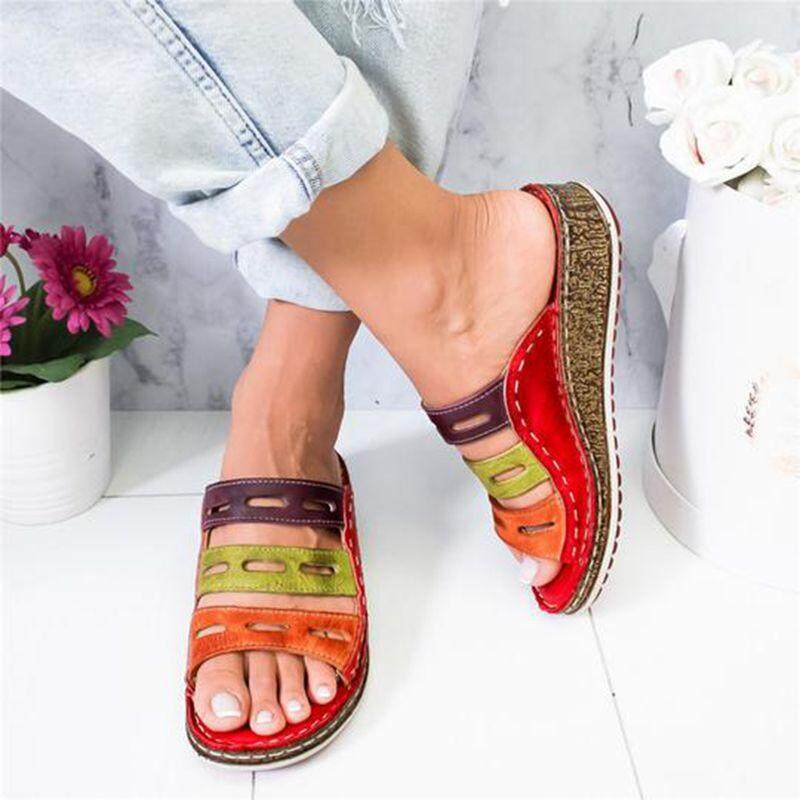 999a2c6aa15c1 Summer women slippers Rome Retro casual shoes Thick bottom wedge open toe  sandals beach slip on slides female