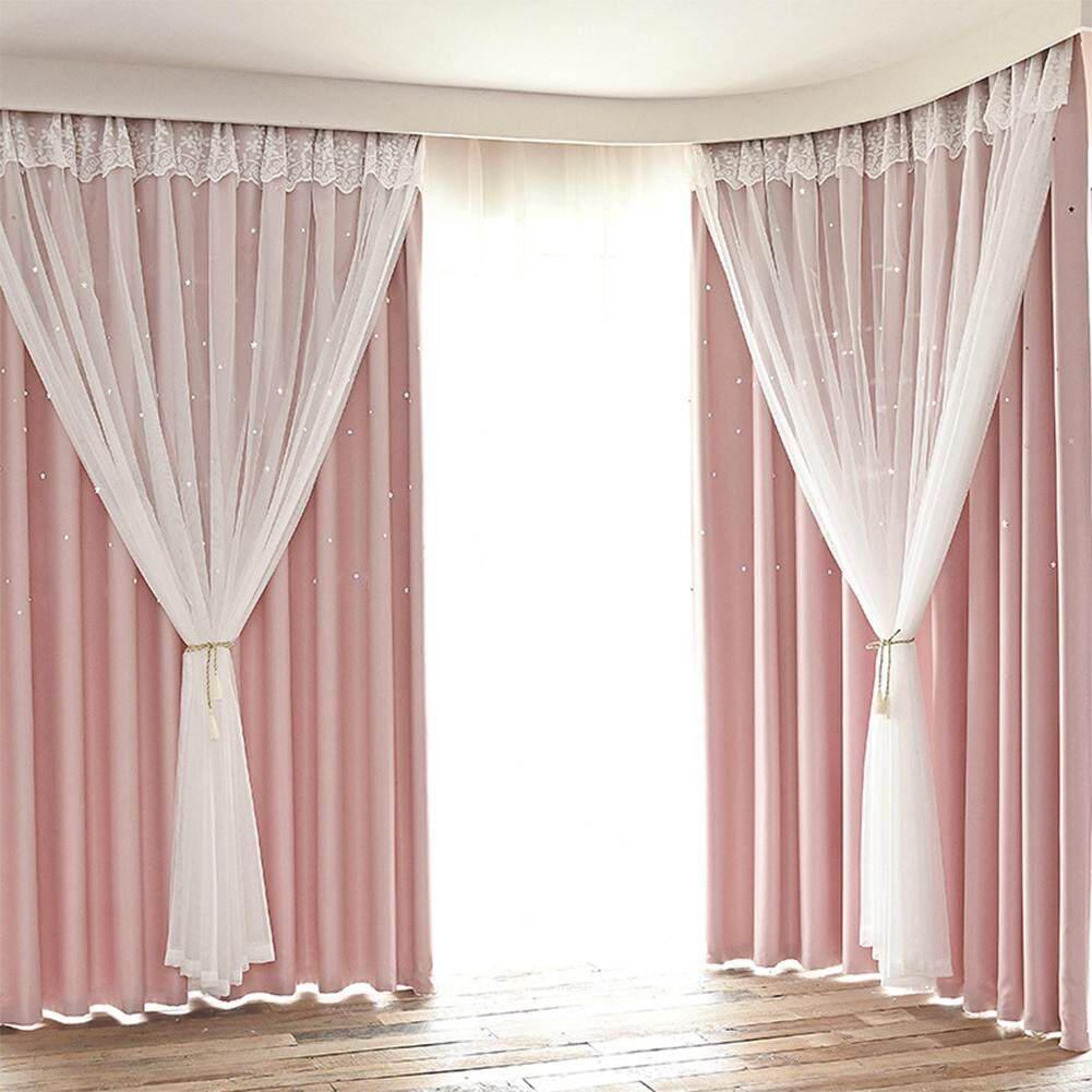 Big House Hollowed Out Star Shading Double Layer Curtain Drapes With Lace For Living Room Kids Room
