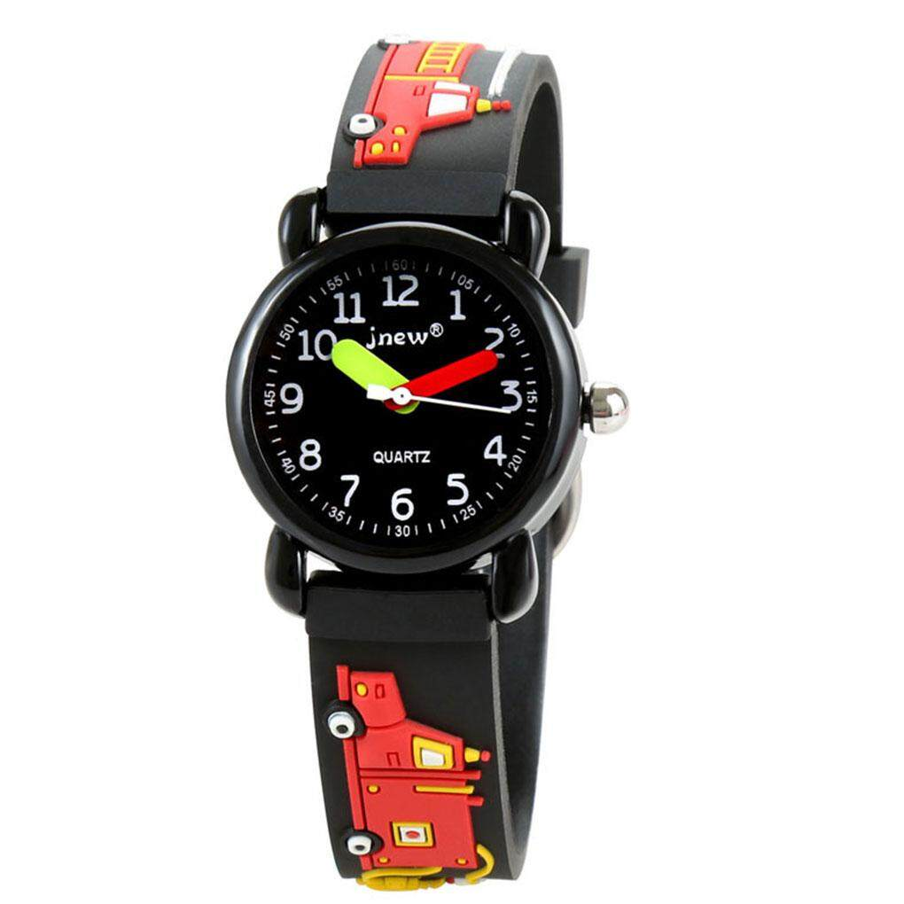 Children Round Watch Fire Truck 3D Pattern Kids Waterproof Boys Girls Quartz Wristwatch Birthday Gift Malaysia