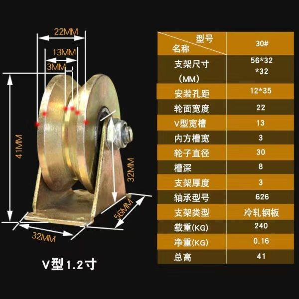 Thickening caigang V U H push-pull orbit round Angle groove pulley track door pulley steel wire wheel door [after] on February 27th