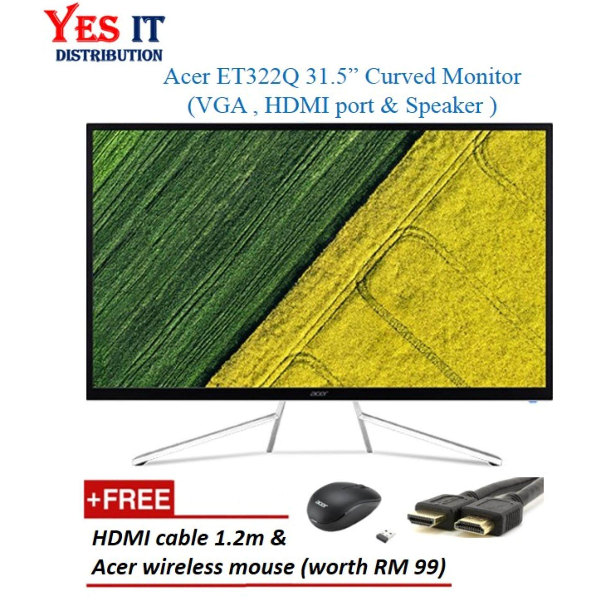 Acer 31.5  ET322QR Curved Monitor (VGA,HDMI &built-in Speaker) Free HDMI cable & Acer Wireless Mouse) Malaysia