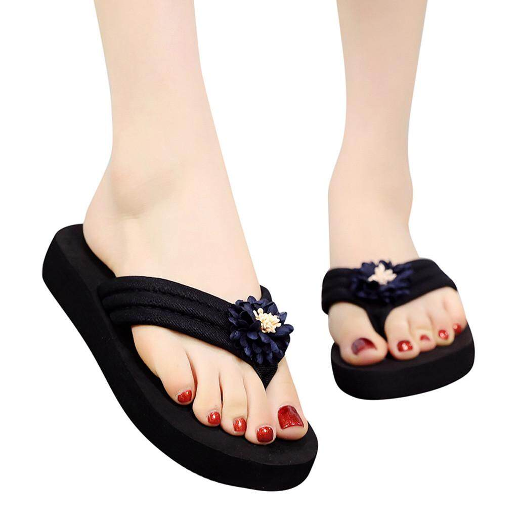 c2a2f70e8932 Guo Women s Summer Bohemian Clip Toe Flip Flops Non-Slip Wedges Slippers  Beach Shoes