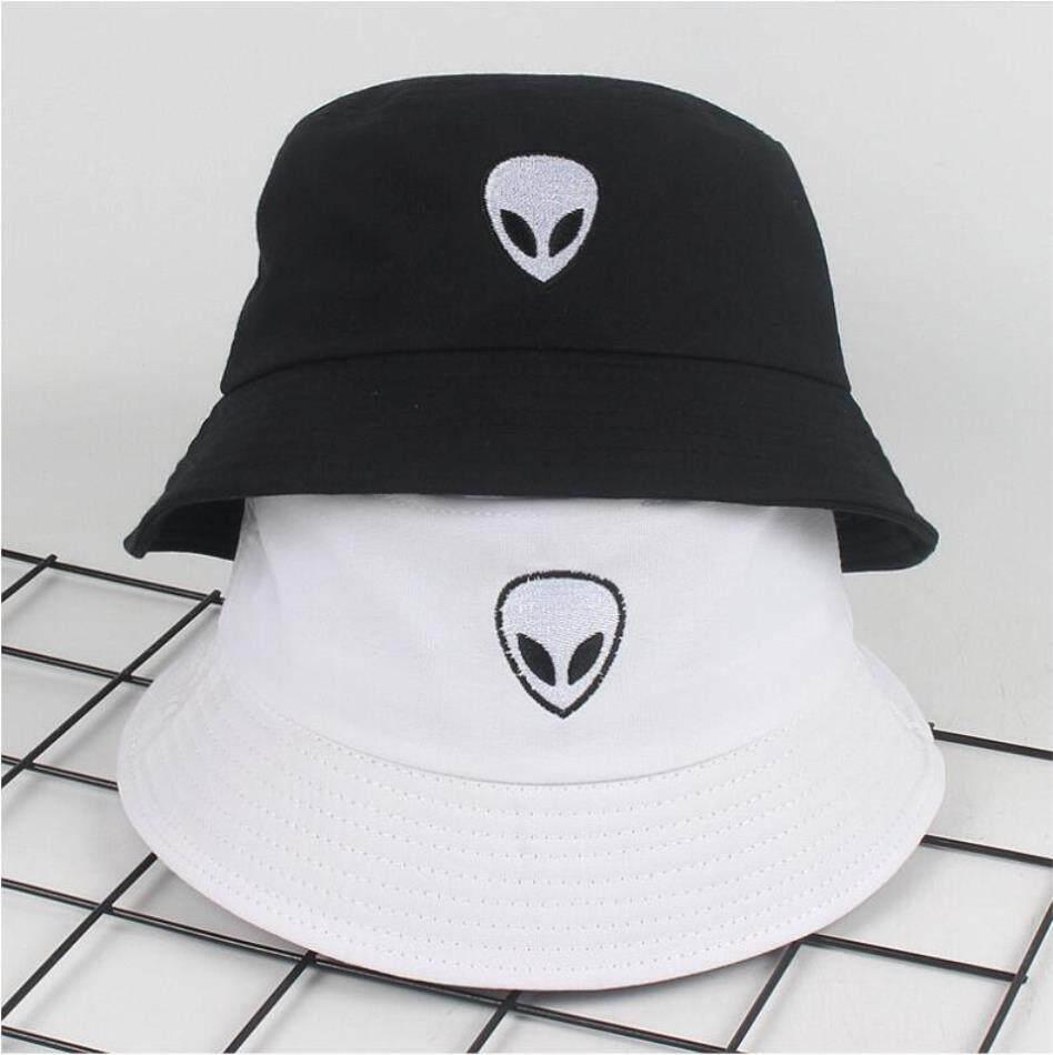 e3bed28bd 2019 Black White Solid Alien Bucket Hat Unisex Bob Caps Hip Hop Gorros Men  Women Summer Panama Cap Beach Sun Fishing Boonie Hat