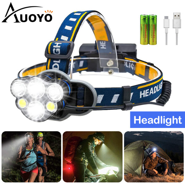 Auoyo Head Light Rechargeable 8 LED Headlight Adjustable Lights Headlamp IPX4 Waterproof Flashlight Camping Fishing Outdoor Hiking Headlamp Head Lamp Head Light with USB Charging Cable for Running, Fishing, Wild Adventure
