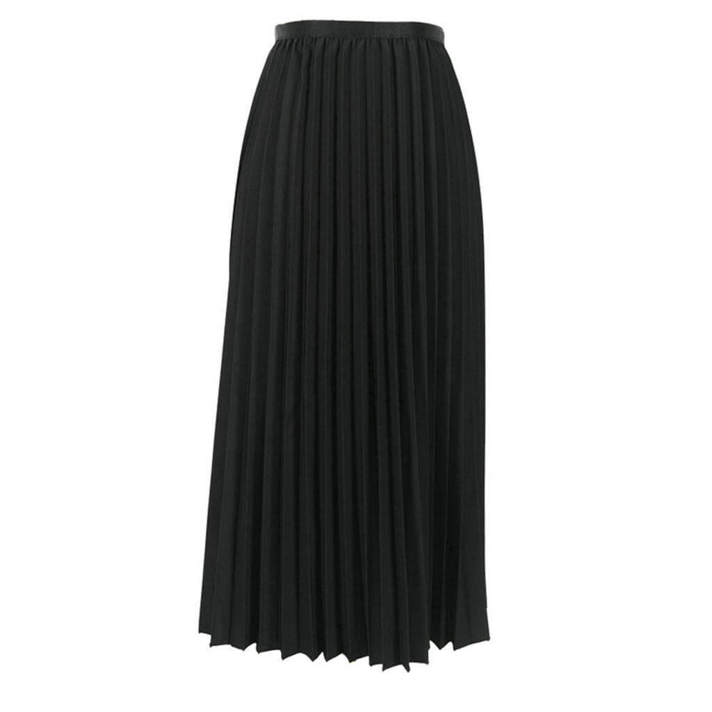 MML Womens Solid Pleated Elegant Midi Elastic Waist Maxi Skirt