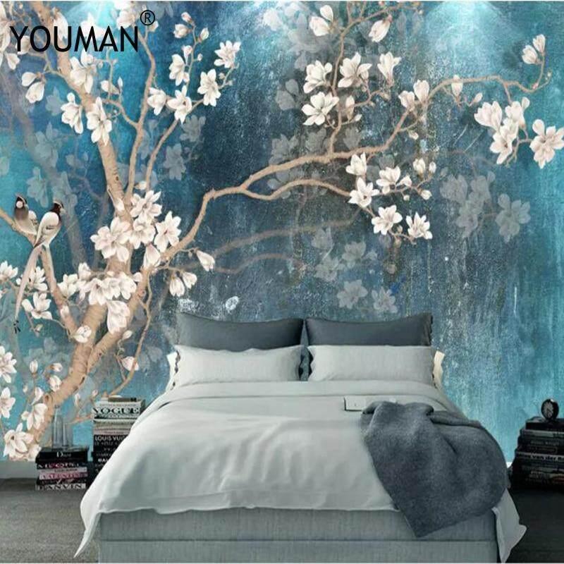 HD Kustom Foto Wallpaper Lukisan Dinding 3D Burung Bunga Timbul Dinding Lukisan Papel De Parede Kertas Dinding Dekorasi Rumah