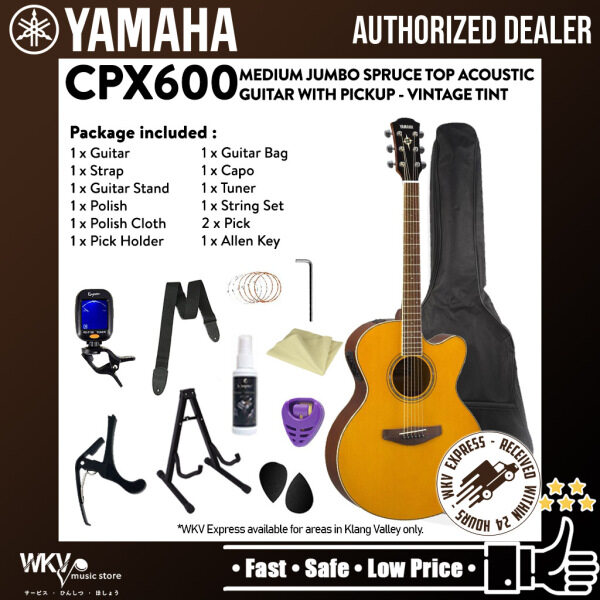 Yamaha CPX600 Medium Jumbo Spruce Top Acoustic Guitar With Pickup - Vintage Tint (CPX 600 / CPX-600) Malaysia