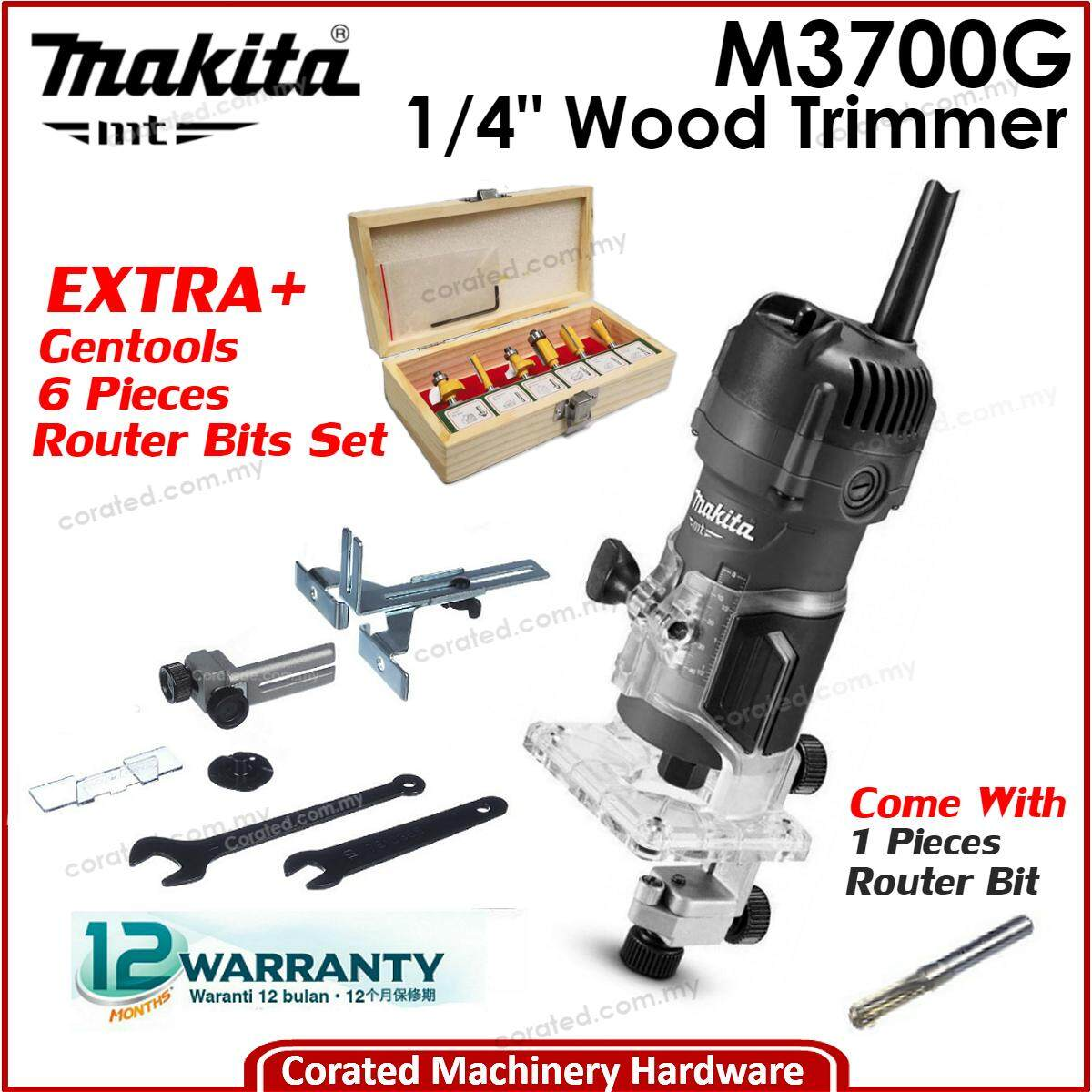 [CORATED] Makita MT M3700G 1/4 - 6MM Wood Trimmer