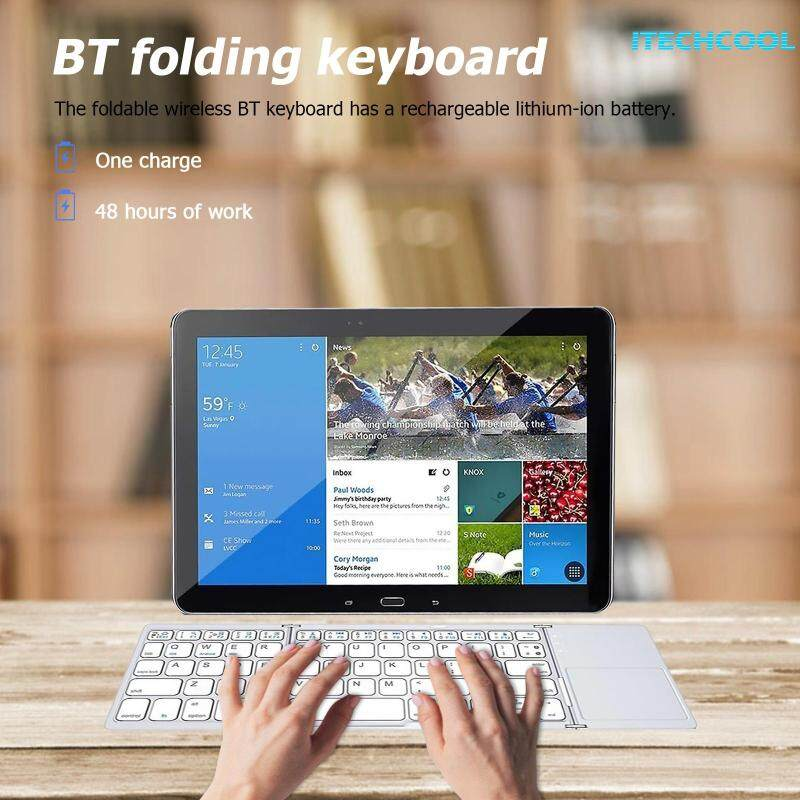 Ultra-Slim Bluetooth Keyboard Wireless Mini Foldable Keyboard with Touchpady for iOS Windows Android Singapore
