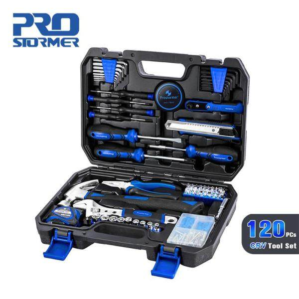 PROSTORMER 120PC Household Tool Set Home Repair Tool Set Hand Tools Car Repair Toolbox Professional Ratchet Spanner Wrench Socket Tape Hammer Tool Kits Strong Case