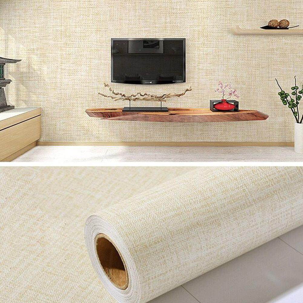 OUTOP 5M Self Adhesive Wallpaper Solid Color Cloth-Line Imitation Pattern Wall Sticker For Living Room Bedroom Background Wall