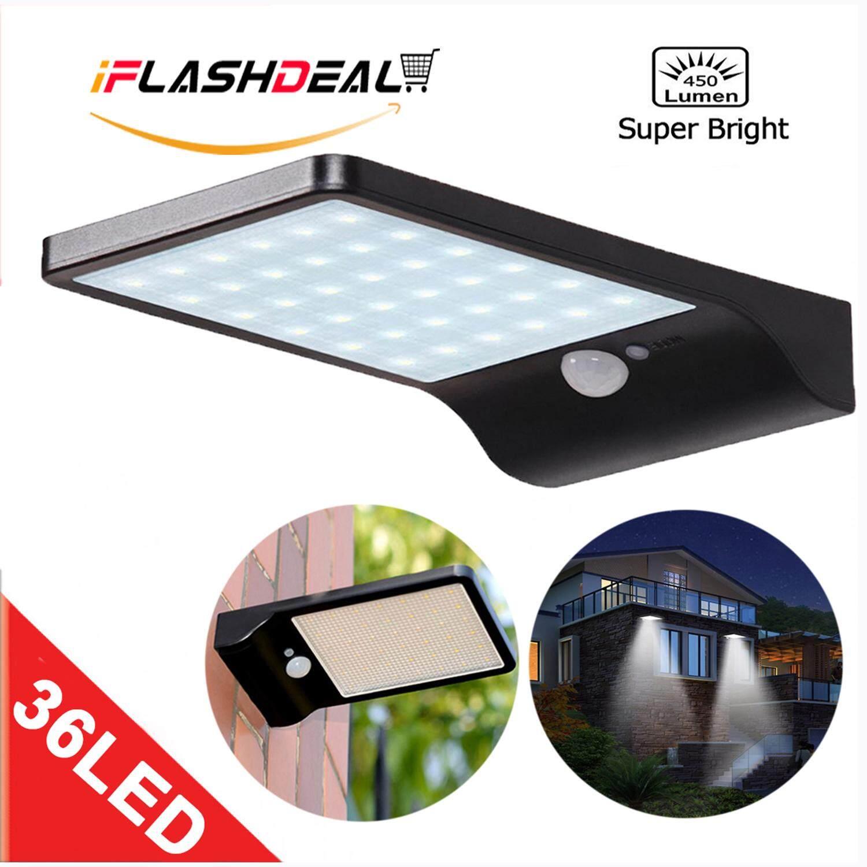 iFlashDeal 36 LED Solar lights Outdoor Lighting Wall Power Street Light Motion Sensor Detector Light Security Lamp Garden 450LM