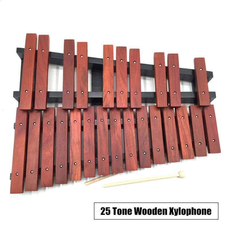 25 Note Gỗ Đàn Gõ Xylophone Bộ Gõ Giáo Dục Tặng kèm 2 Cái Vồ O0D3