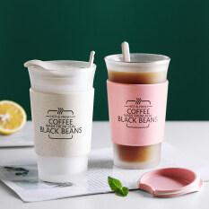 Cốc cà phê ONEISALL Cốc cà phê 400ml có nắp đậy ly trà tay áo chịu nhiệt