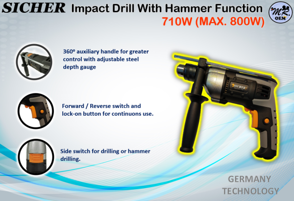 SICHER Impact Drill With Hammer Function 710W- MAX 800W (GERMANY TECHNOLOGY)