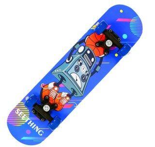 Bốn Bánh Xe Ván Trượt, Người Mới Bắt Đầu Trẻ Em Phim Hoạt Hình Ván Trượt Ván Trượt Gỗ Phong Ngoài Trời Bảng Dài, Rocker Đôi Skateboard thumbnail