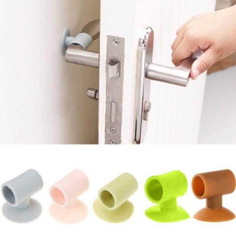 2Pcs Practical Kitchen  bathroom Door Handle Silicone Anticollision Sucker Home Door Protecting Pad Mute Silencer Suction Door Stops Mats(Random Color)